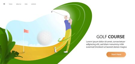 golf poster with a male golf player hitting ball, golf car and flag on the golf lawn with text. Tournament theme. Landing page banner