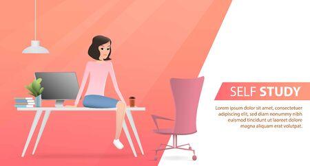 A girl sitting on the office table having a break. Vector flat illustration. Landing page template, cartoon style Standard-Bild - 127977538