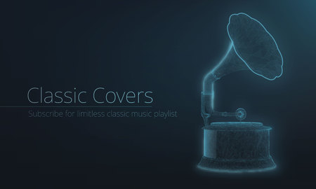 Stylized wireframe neon light gramophone. Glowing effect. Plexus polygons, Landing page or banner template.