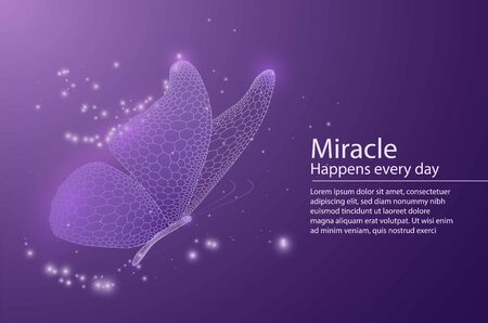Butterfly composed of honeycomb. Low poly vector illustration of a star sky or space or underwater. The landing page or banner lines, dots and shapes. Wireframe technology light connection structure. Иллюстрация