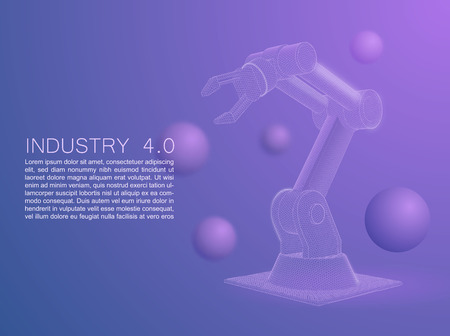 Wireframe stylized automated robot arm. Smart automated robotic arms. Modern logistics center in ultra violet colors. Vector 3d illustration ultraviolet background Illustration