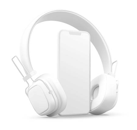 3D style headphones and smartphone on a white background, Concept banner design for music streaming service. Ilustração