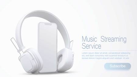 3D style headphones and smartphone on a white background, Concept banner design for music streaming service. Illustration