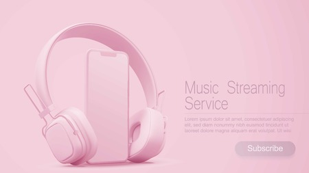 3D style headphones and smartphone on a pink background, Concept banner design for music streaming service. Illustration