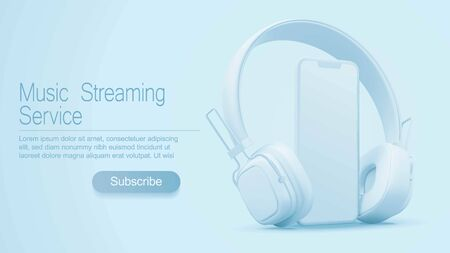 3D style headphones and smartphone on a light blue background, Concept banner design for music streaming service Illustration