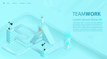 Landing page template of business success boost. Teamwork and industry 4.0 concept. 3d realistic vector illustration