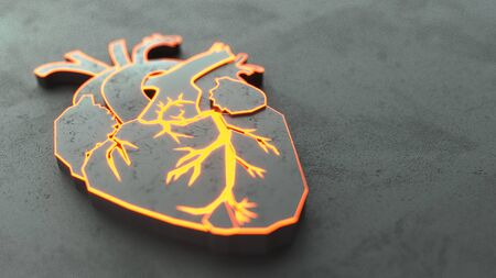 Abstract Flat heart on the stone surface concept. Medical or surgeon copy space web site slider template. 3d illustration Фото со стока