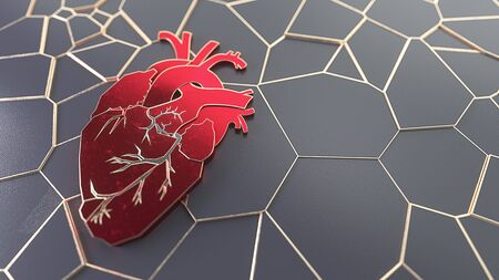 Abstract Flat heart on the stone surface concept. Medical or surgeon copy space web site slider template. 3d illustration Standard-Bild