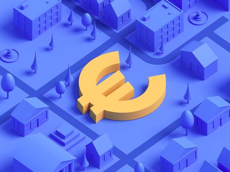 realistic isometric Euro currency sign integrated to lifestyle mono color city illustration for landing page template slider. Finance concept. 3d render