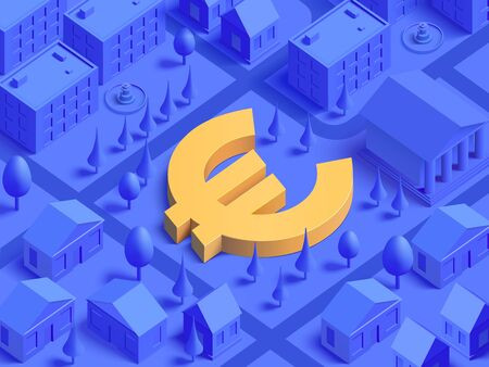 3d realistic isometric Euro currency sign integrated to lifestyle mono color city illustration for landing page template slider. Finance concept.
