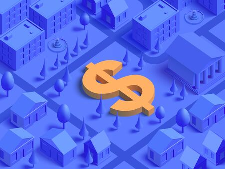 3d realistic isometric US dollar currency sign integrated to lifestyle mono color city illustration for landing page template slider. Finance concept.