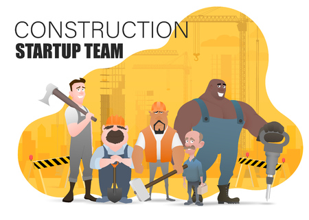 Technician and builders and engineers and mechanics and Construction Worker teamwork ,illustration cartoon character. Landing page slide template