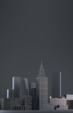 Modern City skyline, city silhouette, 3d illustration in black and gold design. Copy space and black matte background.