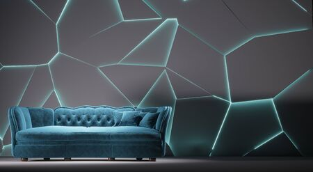 Modern blue fabric sofa chesterfield style in white room interior with structured cracked wall. 3d render Standard-Bild