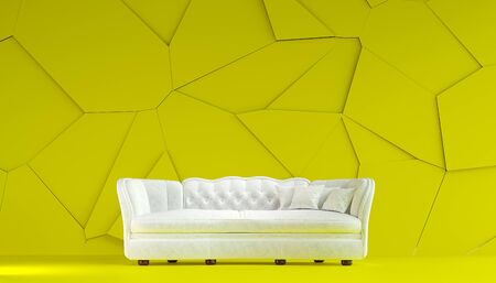 Modern white fabric sofa chesterfield style in lemon yellow room interior with structured cracked wall. 3d render