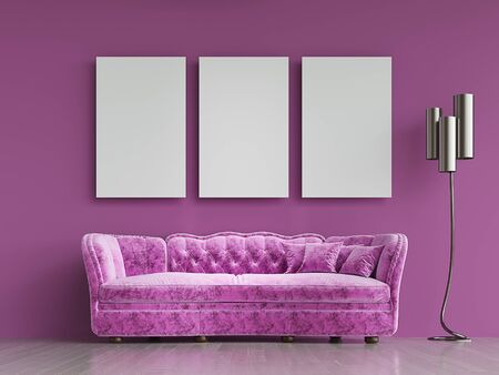 Modern violet fabric sofa chesterfield style in violet room interior with pictures frame on the wall. 3d render Standard-Bild