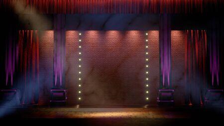 Dunkle leere Bühne mit Scheinwerfern. Comedy, Standup, Kabarett, Nachtclub-Bühne 3D-Rendering