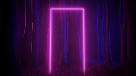 Mystical foggy forest in ultra violet neon lighting with light trails portal. Dark and mysterious scene. 3d render