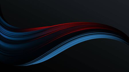 Blue to red colorful gradient abstract twisted shape of paint brush stroke . Digital art background template 3d render
