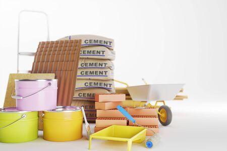 Construction materials isolated on white. Paint bucket, bricks, brush. Copy space. 3D illustration Standard-Bild