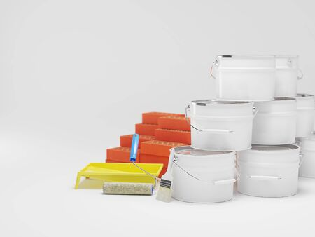 Construction materials isolated on white. Paint bucket, bricks, brush. Copy space. 3D illustration Stock fotó