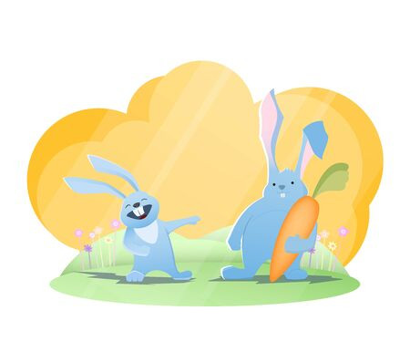 Funny rabbits. Rabbit laughing on another rabbit with huge carrot. Vector illustration