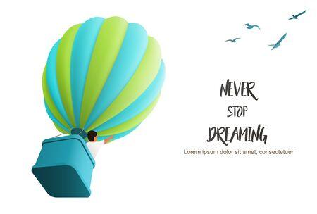 Heißluftballon am Himmel mit Junge im Korb, der nach oben folgende Vögel richtet, Vektorgrafik für motivierende Zielseitenvorlage Vektorgrafik