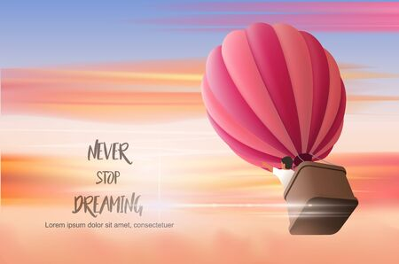 Hot air Ballon in the cloudy sunset sky with boy in the basket directing upward, vector illustration for motivating landing page template