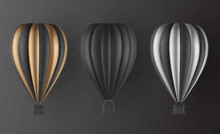 Realistic hot air balloon set in black gold and silver finish variation elements for landing page template, flyer or banner template. Vector illustration