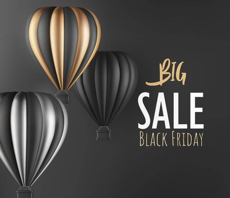 Realistic hot air balloon black gold and silver finish for black Friday flyer or banner template. Vector illustration