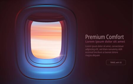 Airplane porthole in the evening ambient atmosphere with clouds sunset visible through window. In pink blue color scheme. Ultra realistic 3d vector illustration with copy space