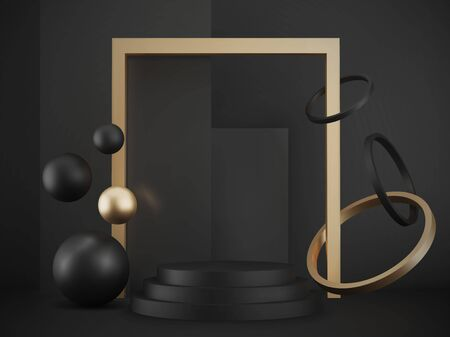 3d realistic pedestal on black background with gold elements, black metallic podium with spheres, rings and boxes, abstract minimal concept, blank space, clean design, vector luxury minimalist mockup Illustration