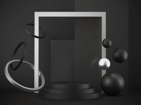 3d realistic pedestal on black background with silver elements, black metallic podium spheres, rings and boxes, abstract minimal concept, blank space, clean design, vector luxury minimalist mockup