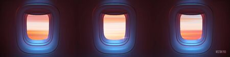 Triple Airplane porthole in the evening ambient atmosphere with clouds sunset visible through window. In pink blue color scheme. Ultra realistic 3d vector illustration with copy space