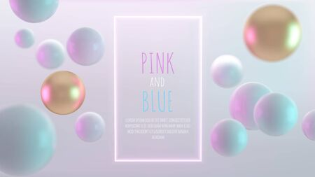 Multicolored decorative balls. Abstract 3d realistic vector illustration. Pearls close up with depth of field and glowing frame. Illustration