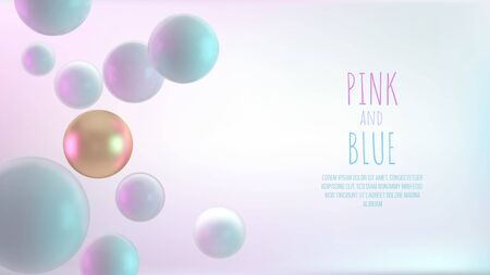 Multicolored decorative balls. Abstract 3d realistic vector illustration. Pearls close up with depth of field. Illustration
