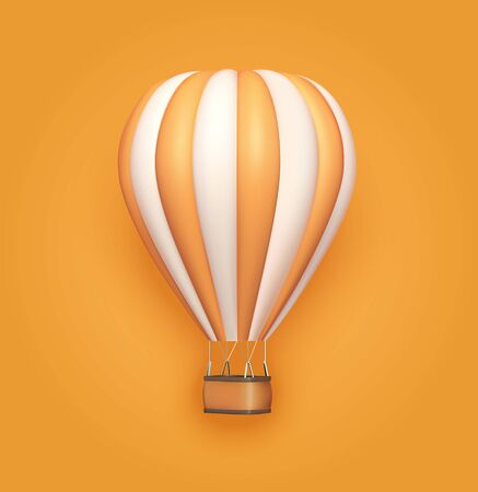 Hot air balloon orange white stripes, colorful aerostat on orange background. 3d photo realistic vector illustration.