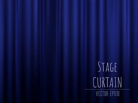 Dark empty stage with rich blue velvet curtain. 3d photo realistic vector illsuatrtion.