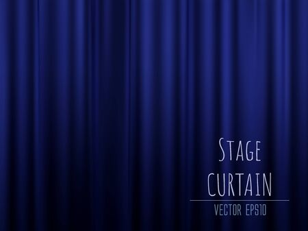 Dark empty stage with rich blue velvet curtain. 3d photo realistic vector illsuatrtion.