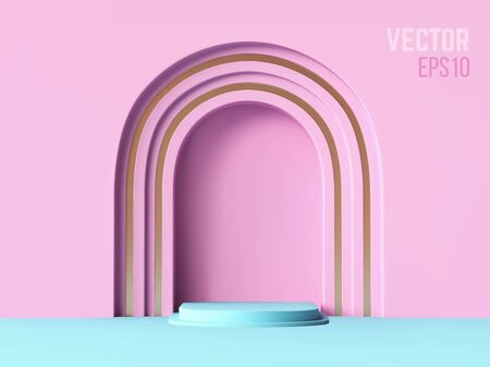 3d realistic pedestal pink arch and blue color podium, abstract minimal concept, blank space, clean design, vector luxury minimalist mockup