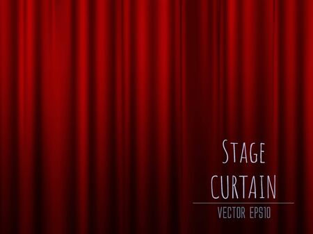 Dark empty stage with rich red velvet curtain. 3d photo realistic vector illsuatrtion Vettoriali