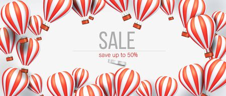 3d Realistic hot air balloon red and white color flyer or banner template for sale. Vector illustration.