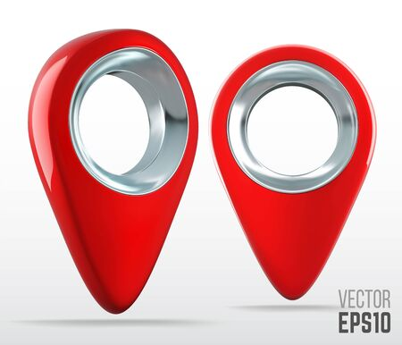 Ultra realistic 3d red color map pin pointer icon.