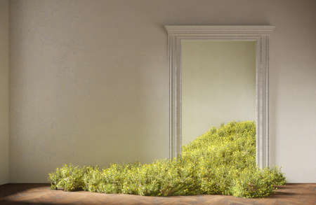 Wild field flowers fall in the room, abstract interior concept with copy space. 3d illustration