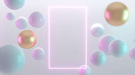 Multicolored decorative balls. Abstract 3d realistic render illustration. Pearls close up with depth of field