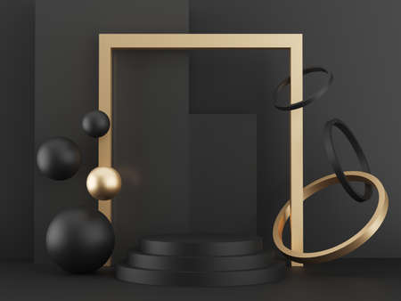 pedestal on black background with gold elements, black metallic podium with spheres, rings and boxes, abstract minimal concept, blank space, clean design, 3d render luxury minimalist mockup