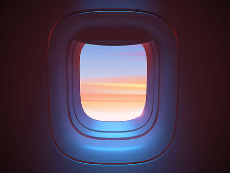 Airplane porthole in the evening ambient atmosphere with clouds sunset visible through window. In pink blue color scheme. Ultra realistic 3d render illustration with copy space Standard-Bild