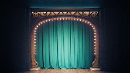 Dark empty cabaret or comedy club stage with green curtain and art nuovo arch. 3d render