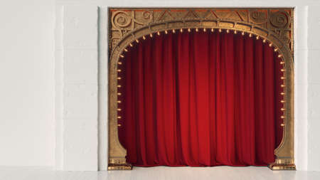 Dark empty cabaret or comedy club stage with red curtain and art nuovo arch. 3d render Standard-Bild