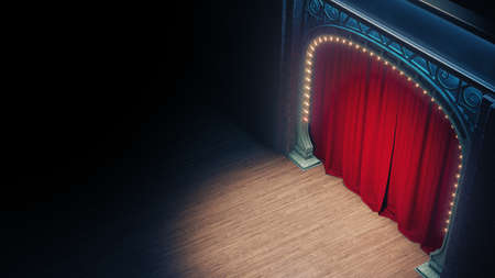 Dark empty cabaret or comedy club stage with red curtain and art nuovo arch. 3d render 免版税图像